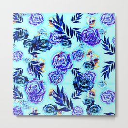 blue indigo purple gold turquoise floral pattern Metal Print