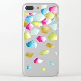 Watercolor Crystals | Gold, Pink and Green Clear iPhone Case