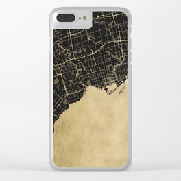 Toronto Gold and Black Street Map Clear iPhone Case