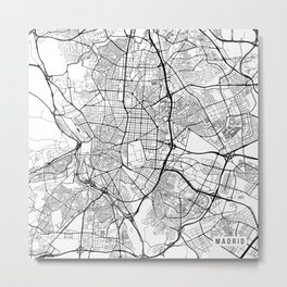 Madrid Map, Spain - Black and White Metal Print