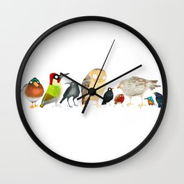 Woodland Bird Collection in white Wall Clock