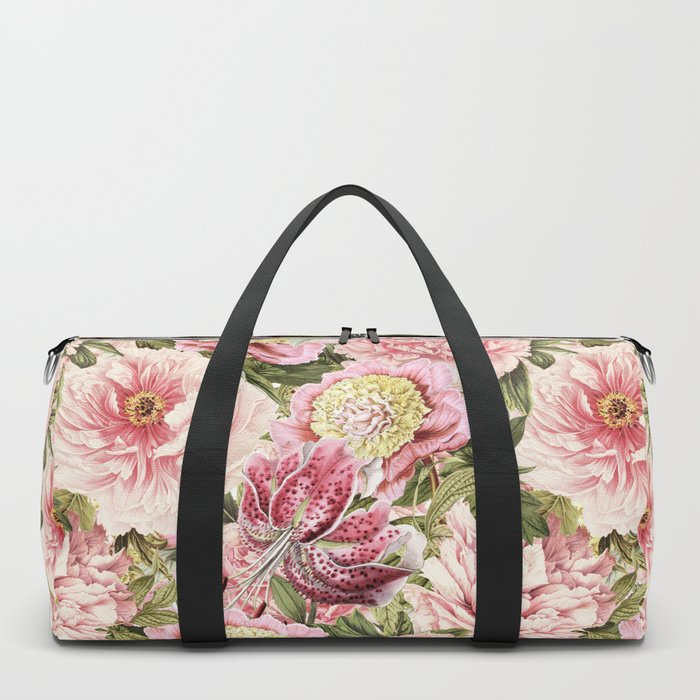 Vintage & Shabby Chic Floral Peony & Lily Flowers Watercolor Pattern Duffle Bag