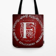 Joshua 24:15 - (Silver on Red) Monogram F Tote Bag