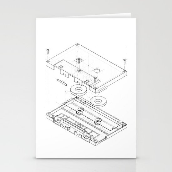 Exploded Cassette Tape  Stationery Cards