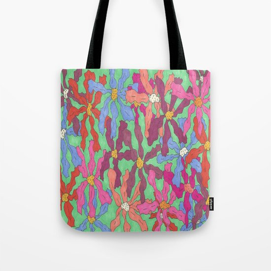 Colorful Retro Floral Print Tote Bag
