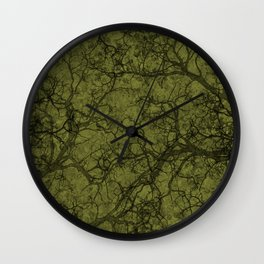 Olive Green Hunting Camo Pattern Wall Clock