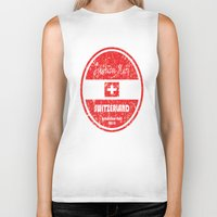switzerland Biker Tanks featuring World Cup Football - Switzerland (Distressed) by Made of Thoughts