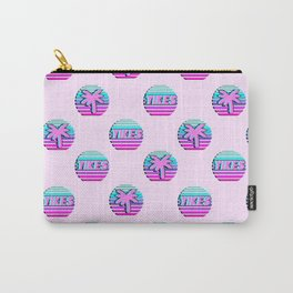 """Vaporwave pattern with palms and words """"yikes"""" #2 Carry-All Pouch"""