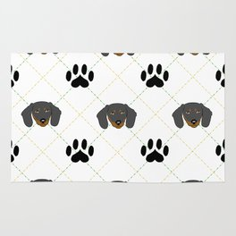 Dachshund Paw Print Pattern Rug