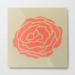 Rose Deep Coral on Linen Metal Print