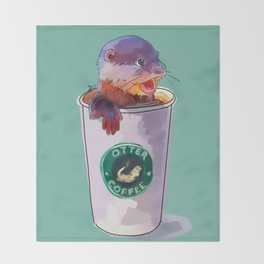Otter Coffee Throw Blanket