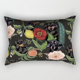 Botanical and Black Dachshund Rectangular Pillow