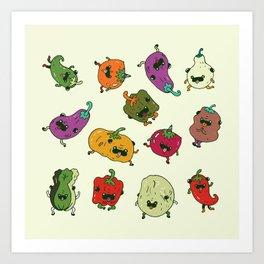 Pugs vegetable gang Art Print