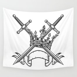 Vintage Print Royal Crown with Swords and Ribbon Monochrome Style. Black and White Wall Tapestry
