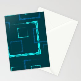 Square seamless pattern of openwork rectangles of blue on a blue background. Stationery Cards