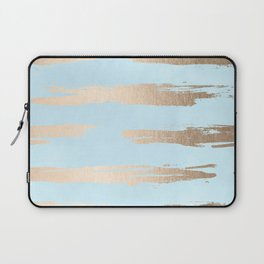 Abstract Paint Stripes Gold Tropical Ocean Sea Turquoise Laptop Sleeve