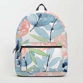 Flowers in Blue Backpack
