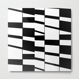 Slanting Rectangles - Black and White Graphic Art by Menega Sabidussi Metal Print
