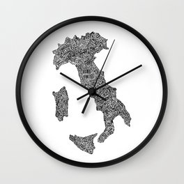 Lettering map of Italy Wall Clock