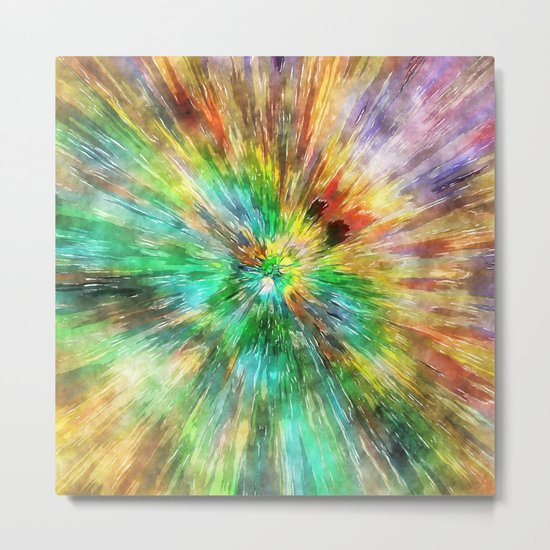 Watercolor Starburst Tie Dye Metal Print