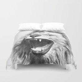 Black White Fierce Lion Duvet Cover