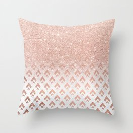 Faux rose gold glitter ombre rose gold foil triangles chevron geometric on white marble Throw Pillow