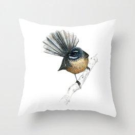 Mr Pīwakawaka, New Zealand native bird fantail Throw Pillow