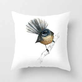 Mr Pīwakawaka, New Zealand native bird fantail Throw Pillow