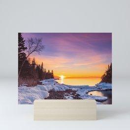 Beautiful Bright Colorful Sunrise Over Lake Superior in Minnesota Mini Art Print