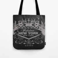 sin city Tote Bags featuring Sin City (Black) by Gusto NYC