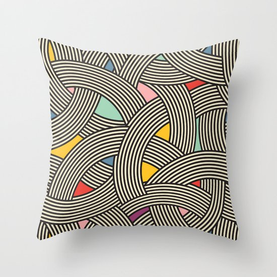Modern Scandinavian Multi Colour Color Curve Graphic Throw Pillow by Season Of Victory Society6