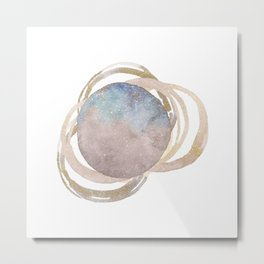 Abstract Circles Fake Glitter WatercolorSpace Design Metal Print