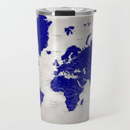 "Navy blue and grey detailed world map, ""Delaney"" Travel Mug"