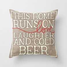 Love, Laughter and Beer Throw Pillow