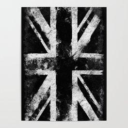 Black Grunge England flag Poster