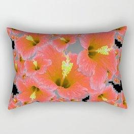 BLACK-GREY CORAL COLOR HIBISCUS ART Rectangular Pillow