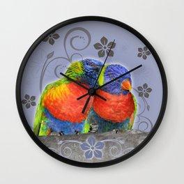 Two lorikeets in love Wall Clock