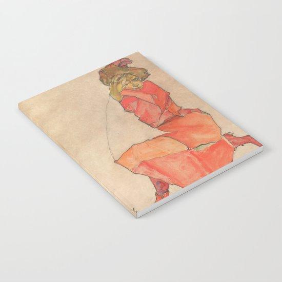 Egon Schiele - Kneeling Female in Orange-Red Dress by constantchaos