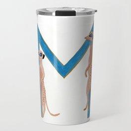 M is for Meerkat Letter Alphabet Decor Design Art Pattern Travel Mug
