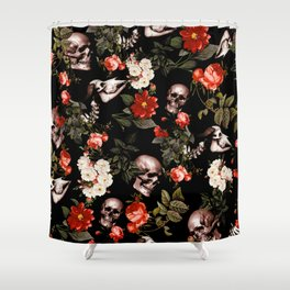Floral and Skull Dark Pattern Shower Curtain