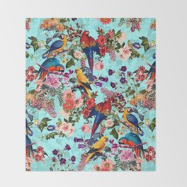 Floral and Birds XI Throw Blanket