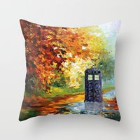 fandom Throw Pillows featuring starry Autumn blue phone box Digital Art iPhone 4 4s 5 5c 6, pillow case, mugs and tshirt by Three Second