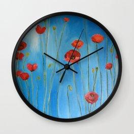 Blue Poppies Wall Clock