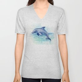 Dolphin Watercolor Sea Creature Animal Unisex V-Neck