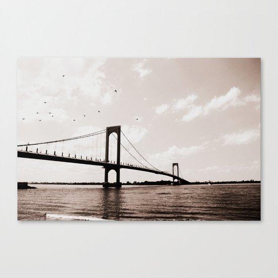 Flying Over the Whitestone Bridge, New York City Canvas Print