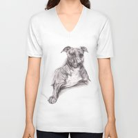 pit bull V-neck T-shirts featuring Pit Bull Portrait in Charcoal by M.M. Anderson Designs