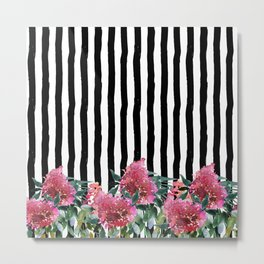 Black white brushstrokes pink watercolor floral stripes Metal Print