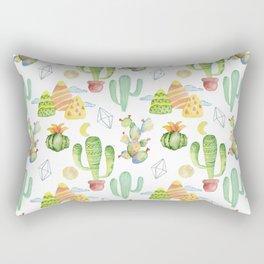 Modern green yellow geometric watercolor cactus pattern Rectangular Pillow
