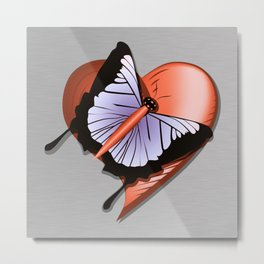 Beautiful butterfly and heart on polished metal textured background Metal Print