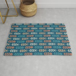 SCANDI GARDEN 01-8, multicolor on navy blue Rug